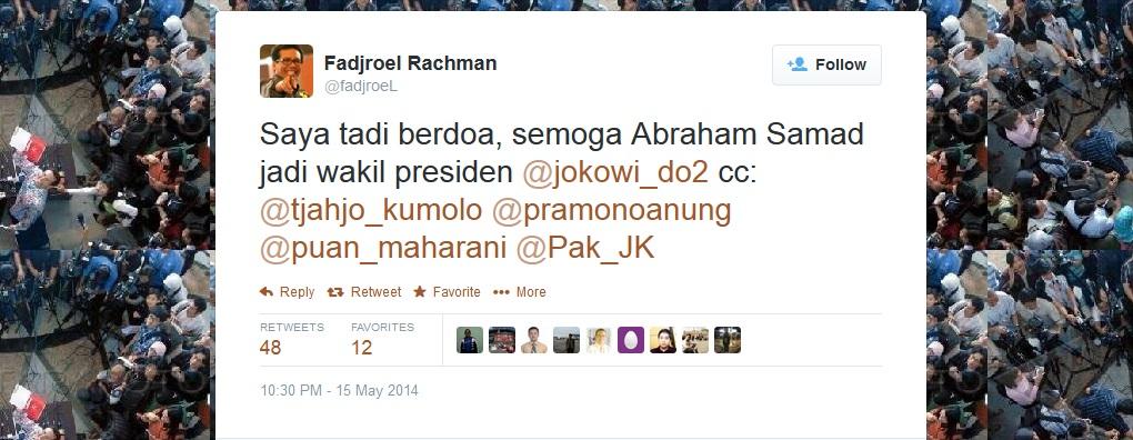 Fadjroel Berdoa Abraham Samad Cawapres Jokowi