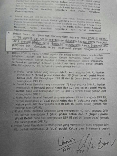 Dokumen Kontrak Politik Koalisi Merah Putih, Partai Demokrat Dapat Jatah Ketua MPR (Twitter)