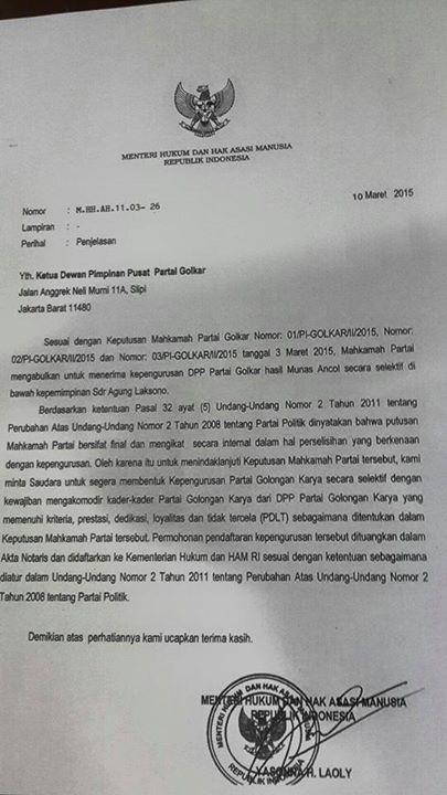 Surat Kemenkumham No M.HH.AH.11.03-26 tentang Pengesahan Kepengurusan DPP Partai Golkar di bawah Kepemimpinan Agung Laksono