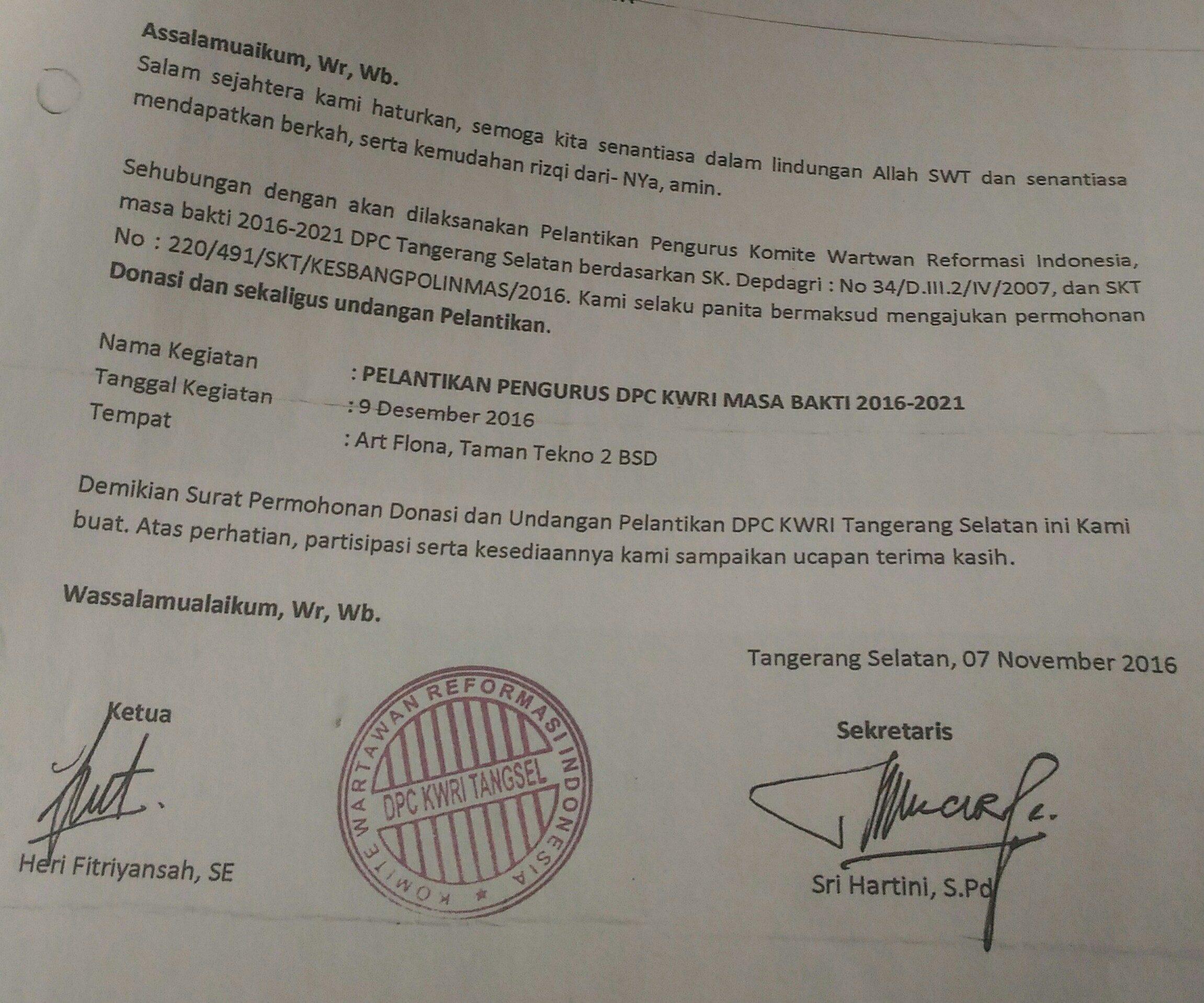 Surat KWRI Tangsel