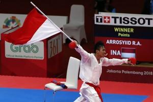 Karateka Rifki Ardiansyah Arrosyid mempersembahkan medali emas kesebelas bagi Indonesia.