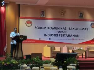 Kapukom Kemenhan Brigjen TNI Toto Sugiarto, S.Sos menyampaikan sambutan pada acara Bakohumas, di Gedung Kemenhan, Jakarta, Rabu (29/8) siang. (Foto: Rizky/Humas)