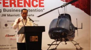 Menhub Budi K. Sumadi saat berbicara pada acara Rotary Wing Indonesia Conference 2018 di Jakarta, Rabu (26/9). (Foto: BKPI Kemenhub)