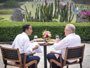 Presiden Jokowi minum teh bersama PM Australia Scott Morrison, di Istana Kepresidenan Bogor, Jawa Barat, Jumat (31/8). (Foto: Humas/Agung).
