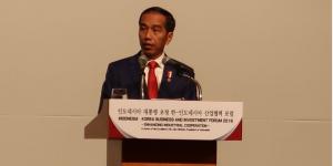 Presiden Jokowi menyampaikan sambutan pada Forum bisnis Indonesia-Korea, di Seoul, Korsel, Senin (10/9) pagi. (Foto: Antara)