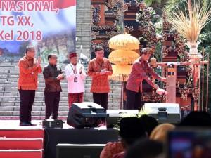 Presiden saat membuka acara Temu Karya Nasional Gelar Teknologi Tepat Guna (TTG) XX dan Pekan Inovasi Perkembangan Desa/Kelurahan (PINDesKel) Tahun 2018, Jumat (19/10). (Foto: BPMI)