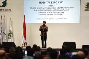 Presiden Jokowi memberikan sambutan pada Kongres XIV PERSI, di JCC Jakarta, Rabu (17/10) pagi. (Foto: Deny S/Humas)