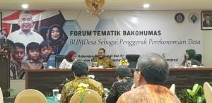"""Suasana Forum Tematik Bakohumas yang mengusung tema """" BUMDesa Sebagai Penggerak Perekonomian Desa"""" di Savana Hotel and Convention, Malang, Jawa Timur, Rabu (24/4) malam. (Heni/Humas)"""