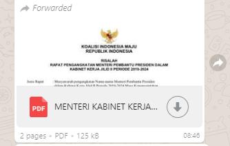 [SALAH] Beredar Risalah Rapat Pengangkatan Nama – nama Menteri Kabinet Kerja Jilid II dengan Lambang Garuda dan Bertuliskan Koalisi Indonesia Maju