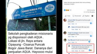 [SALAH] Kalau kita beli aqua berarti kita menyumbang misionaris Kristen
