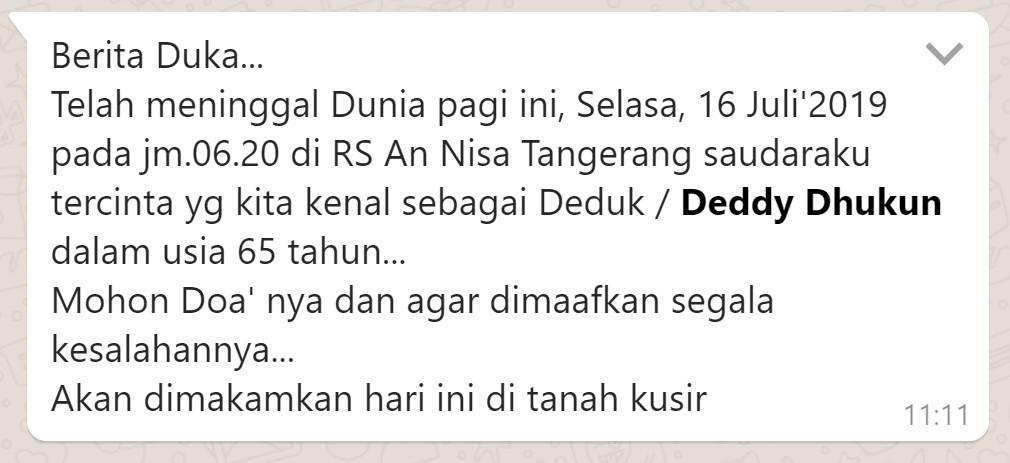 [SALAH] Deddy Dhukun Meninggal - TurnBackHoax