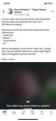 [SALAH] RS Bedah Surabaya Temukan Korek dan Baterai Dalam Perut Balita