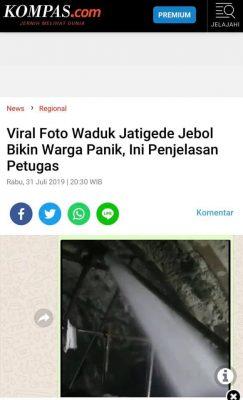 [KLARIFIKASI] Muncul Isu Waduk Jatigede Jebol, Kapolsek Dan BBWS Nyatakan Tidak Benar