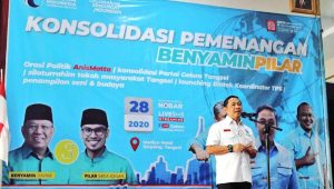 Ketua Umum Partai Gelora Indonesia Anis Matta saat menghadiri Konsolidasi Pemenangan Benyamin-Pilar, DPD Partai Gelora Indonesia Kota Tangsel yang digelar di Hotel Marilyn Serpong, Sabtu (28/11)
