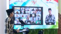 Presiden Jokowi memberikan sambutan secara virtual pada Pembukaan Rapat Koordinasi Nasional III KAHMI Tahun 2021 dari Istana Kepresidenan Bogor, Jawa Barat, Jumat (15/01/2021). (Foto: Biro Pers Setpres/Muchlis Jr)