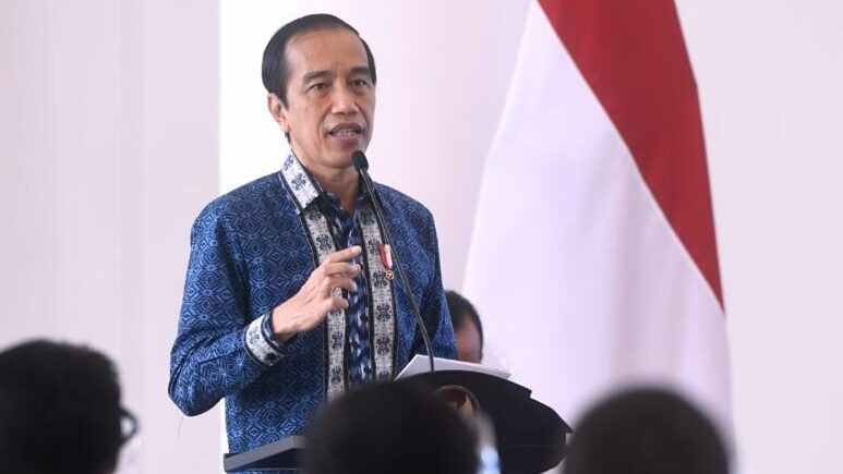 Presiden Joko Widodo saat menyampaikan sambutan dalam Rapat Kerja Nasional (Rakernas) XVII Himpunan Pengusaha Muda Indonesia (Hipmi) Tahun 2021 di Istana Kepresidenan Bogor, Jawa Barat, Jumat, 5 Maret 2021.