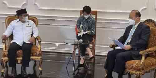 Duta Besar China untuk Indonesia Xiao Qian saat menyambangi kantor DPP Partai Kebangkitan Bangsa (PKB) di Jalan Raden Saleh No. 9, Jakarta Pusat, Senin, (19/4/2021).
