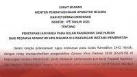 Inilah Jam Kerja ASN pada Bulan Ramadan 1442 Hijriah