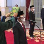 Presiden Jokowi melantik menteri negara Kabinet Indonesia Maju sisa jabatan 2019-2024, Rabu (28/4/2021).