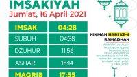 Jadwal Imsak dan Buka Puasa Hari Ini Jum'at 16 April 2021