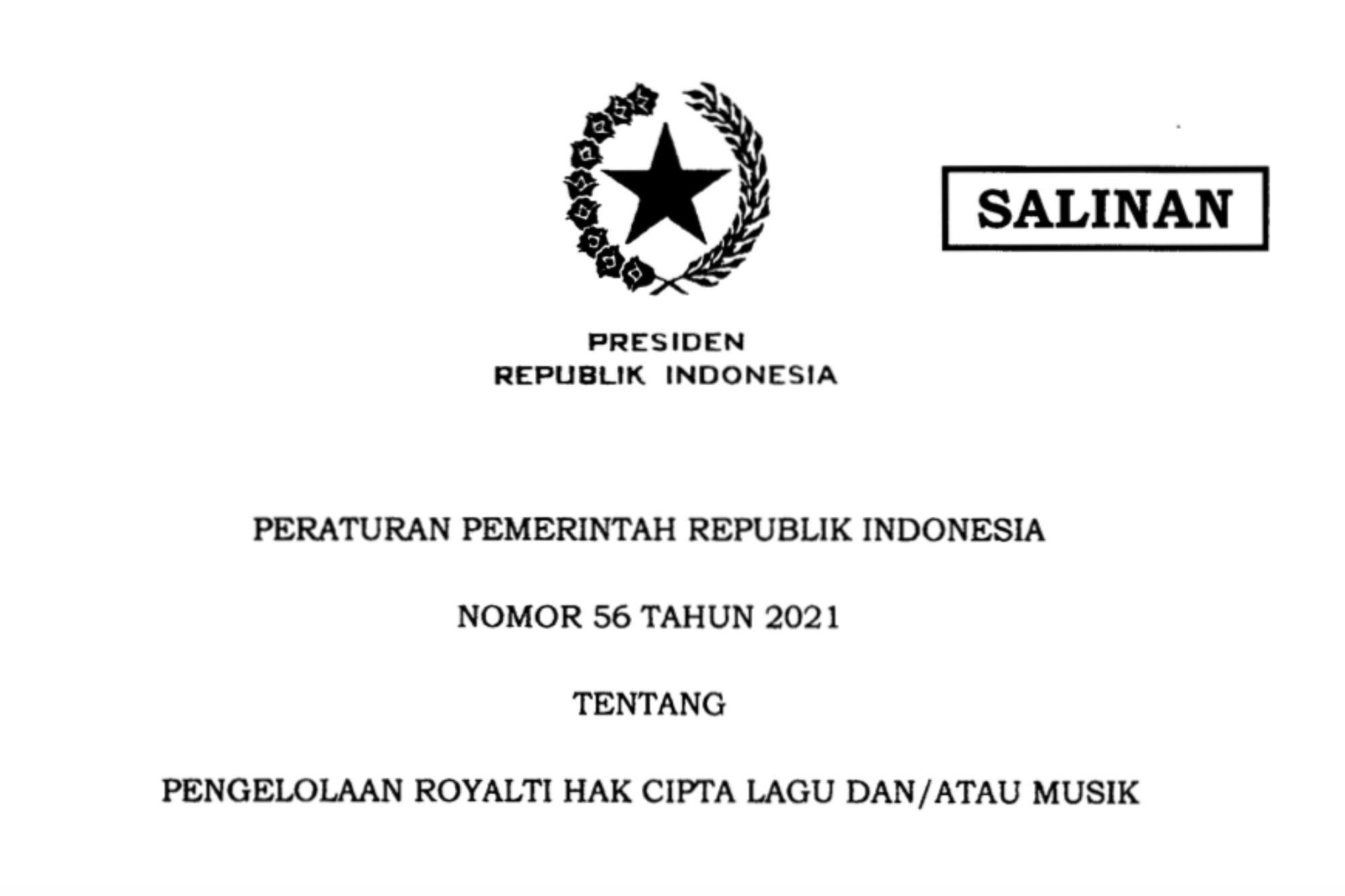 Inilah PP 56/2021 tentang Pengelolaan Royalti Hak Cipta Lagu dan Musik