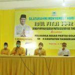 Pengurus dan kader DPD Golkar Kabupaten Tangerang menggelar silaturahmi dan santunan di sekretariat Golkar, Sabtu (1/5/2021). FOTO: Dokumentasi Golkar Kabupaten Tangerang for Tangerang Ekspres