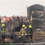 Tanker Minyak serta sejumlah kendaraan dan rumah terbakar di Afghanistan.Foto: tangkapan layar Presstv